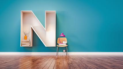 Room for learning The letter N has designed a bookshelf.