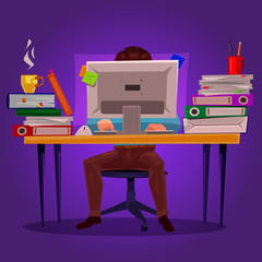 illustration of a man working on the computer