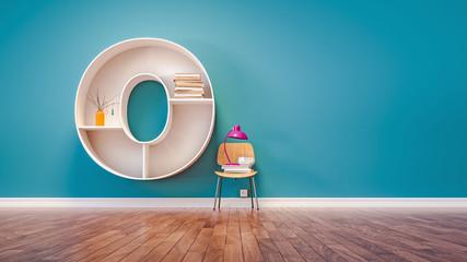 Room for learning The letter O has designed a bookshelf.
