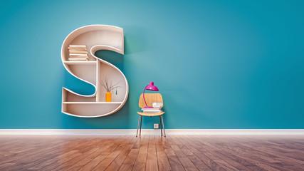 Room for learning The letter S has designed a bookshelf.