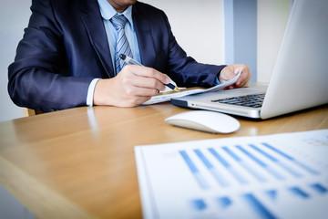 Working process startup. Businessman working with new finance pr