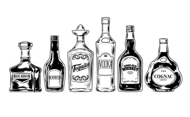 set of bottles for alcohol