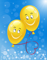 Blue sunny background with yellow happy balloons. Vector illustration.