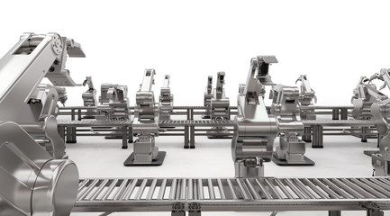 robotic arm with conveyor line