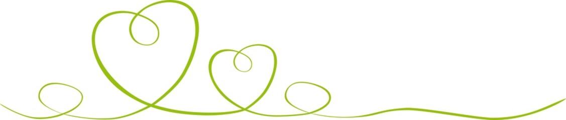 Herzen gezeichnet mit Band