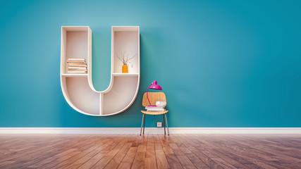 Room for learning The letter U has designed a bookshelf.