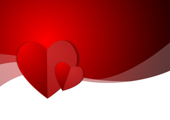 Vector : Hearts on empty layout and red background
