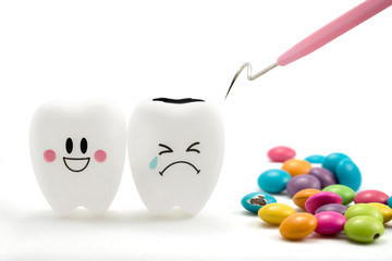 Teeth smile and crying emotion with dental plaque cleaning tool and Chocolate candy isolated on white background, With clipping path teeth and tool