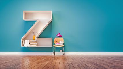 Room for learning The letter Z has designed a bookshelf.