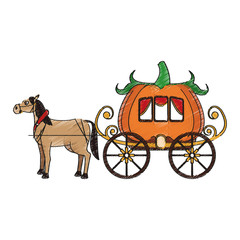 medieval carriage in pumpkin shape over white background. vector illustration