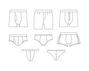 Set of clothes. Underwear for men: boxer, shorts. Different types of male briefs and shirt. Vector illustrations in thin line style.