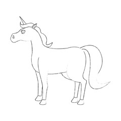 unicorn cartoon icon over white background. vector illustration
