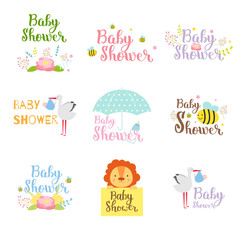 Baby shower badge vector set.