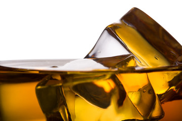 Detail of a whiskey glass with ice