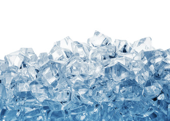Pile of ice cubes toned in blue