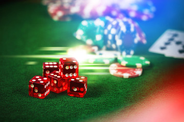 Poker Chips in casino gamble green table with colorful multi col
