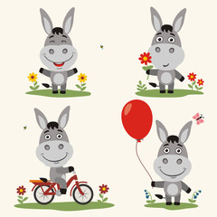 Vector set funny donkey plays on meadow. Collection isolated  on bicycle, with balloon and flower in cartoon style.