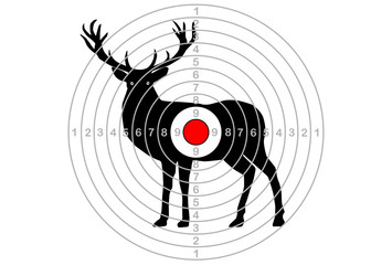 target for shooting, in the center of the deer. Vector
