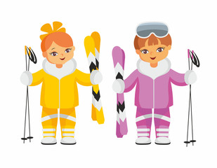 The girl and the boy in beautiful ski suits. Vector illustration on a white background.