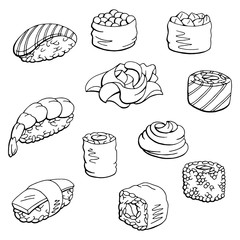 Sushi set graphic black white isolated food sketch illustration vector