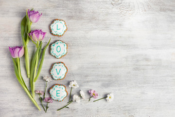 Cookies with word love. Top view