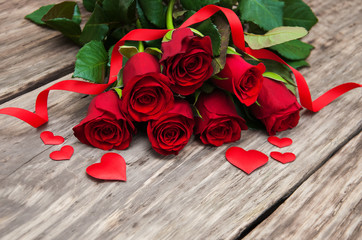 Red rose and hearts