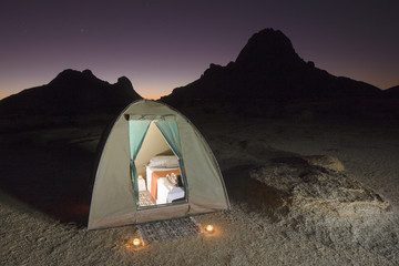 Luxury Tent set up under the stars in Namibia.
