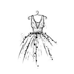 Dress in the vector. Hand drawing clothes . Vintage . Fashion.