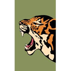 Tiger head vector illustration style face Flat