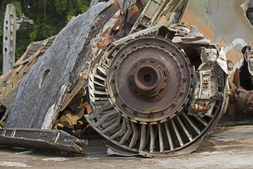Close up of a jet engine of an American aircraft that was shot down in Hanoi sky during the Vietnam war.