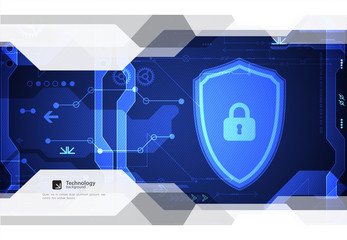 Protection concept of digital and technological background.