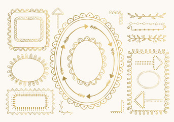 Set of gold hand drawn photo frames, borders and dividers. Vector. Isolated.