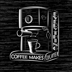 Coffee maker with a cup in vintage style. Monochrome colors.