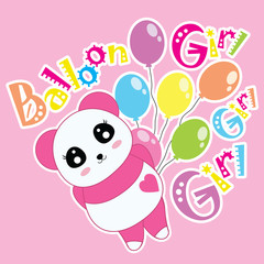 Cartoon vector of Panda and balloons suitable for children t-shirt background, scrap book and wallpaper