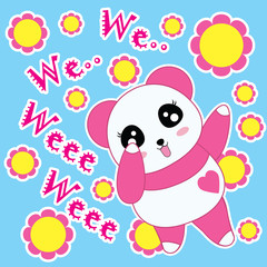 Cartoon vector of Panda and flowers suitable for children t-shirt background, scrap book and wallpaper