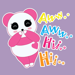 Cartoon vector of Panda smiles and laugh suitable for children t-shirt background, scrap book and wallpaper