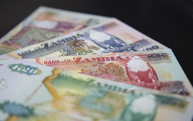 Close up of Zambian money, Zambia country, economy and finance. Concept of Africa economy and business.