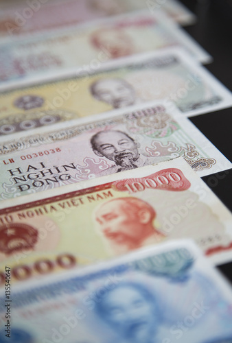 Close up of Vietnamese money - Vietnam Dong (VND). Concept of Vietnam and