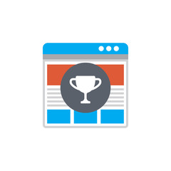 Vector icon or illustration showing web site seo ranking in materail design style