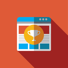 Vector icon or illustration showing web site seo ranking in flat design style