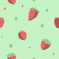 Strawberries pattern - vector