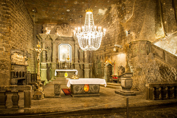 Chapel in the main hall in the Wieliczka