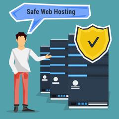 Man points to safe web hosting