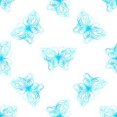 Vector seamless pattern of watercolor butterflies.