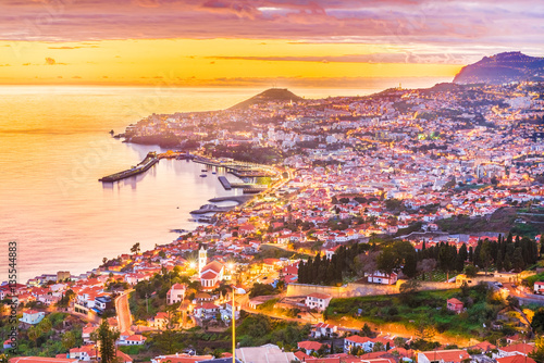 Wall mural Panoramic view over Funchal – Madeira island, Portugal