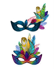 Carnival mask collection with feathers and beads. Colorful decorative ornament, isolated masks set on white. Hand drawn elements, photo props, Vector illustration