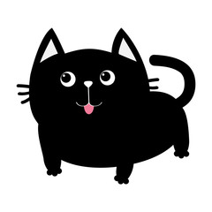 Black cat icon. Cute funny cartoon smiling character. Kawaii animal. Big tail, whisker, tongue, eyes. Happy emotion. Kitty kitten Baby pet collection. White background. Isolated. Flat design.