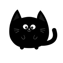 Round shape black cat icon. Cute funny cartoon smiling character. Kawaii animal. Big tail, whisker, eyes. Happy emotion. Kitty kitten Baby pet collection. White background. Isolated. Flat design.