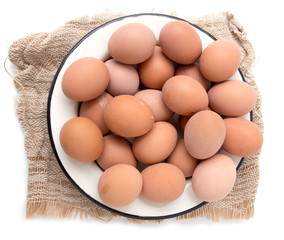 eggs in a plate on a white background