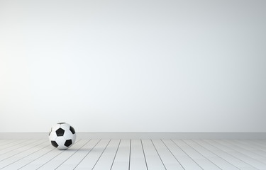 Soccer Ball In Room With Wooden Floor